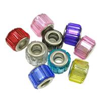 European Acrylperlen, Acryl, Zylinder, Platinfarbe platiniert, -Zink-Legierung Doppel-Kern ohne troll, keine, frei von Nickel, Blei & Kadmium, 11x9mm, Bohrung:ca. 5mm, 100PCs/Menge, verkauft von Menge