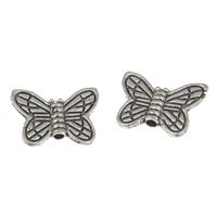Zinklegierung Tier Perlen, Schmetterling, antik silberfarben plattiert, frei von Blei & Kadmium, 14x11x2.50mm, Bohrung:ca. 1mm, 100G/Tasche, verkauft von Tasche