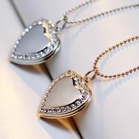 Mode Medaillon Halskette, Messing, mit Verlängerungskettchen von 2lnch, Herz, plattiert, mit Foto-Medaillon & Kugelkette & mit Strass, keine, frei von Nickel, Blei & Kadmium, 21x22mm, verkauft per ca. 17 ZollInch Strang