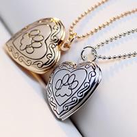 Mode Medaillon Halskette, Messing, mit Verlängerungskettchen von 2lnch, Herz, plattiert, mit Foto-Medaillon & Kugelkette & Emaille, keine, frei von Nickel, Blei & Kadmium, 23x19mm, verkauft per ca. 17 ZollInch Strang