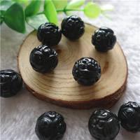 Schwarze Obsidian Perlen, Schwarzer Obsidian, rund, geschnitzed & verschiedene Größen vorhanden, Bohrung:ca. 1mm, 5PCs/Tasche, verkauft von Tasche