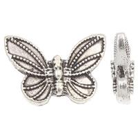 Zinklegierung Tier Perlen, Schmetterling, antik silberfarben plattiert, frei von Blei & Kadmium, 20x14x5mm, Bohrung:ca. 2mm, ca. 30PCs/Tasche, verkauft von Tasche