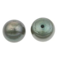 Halbgebohrte Süßwasser Zuchtperlen, Natürliche kultivierte Süßwasserperlen, Knopf, dunkelgrün, 7-7.5mm, Bohrung:ca. 1mm, verkauft von Paar
