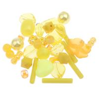 Gemischte Acrylperlen, Acryl, gelb, 3-15x13mm, Bohrung:ca. 1-2mm, 2Taschen/Menge, ca. 680PCs/Tasche, verkauft von Menge