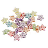 Chemische Wash Acryl Perlen, Stern, chemische-Waschanlagen, gemischte Farben, 9x3mm, Bohrung:ca. 1mm, 2Taschen/Menge, ca. 2400PCs/Tasche, verkauft von Menge