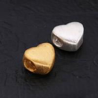 99 % Sterling Silber Beads, 99%, Herz, plattiert, gebürstet, keine, 11x9mm, Bohrung:ca. 3.5mm, 10PCs/Menge, verkauft von Menge