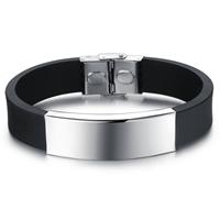 Herren-Armband & Bangle, Silikon, mit Edelstahl, für den Menschen, originale Farbe, 14mm, verkauft per ca. 8.5 ZollInch Strang