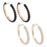 Eisen Kreolen, mit ABS-Kunststoff-Perlen, goldfarben plattiert, keine, frei von Nickel, Blei & Kadmium, 59x57x6mm, verkauft von Paar