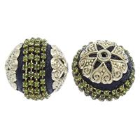 Indonesien Perlen, mit Zinklegierung, rund, plattiert, mit Strass, 25x26mm, Bohrung:ca. 1mm, 50PCs/Tasche, verkauft von Tasche
