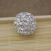 Strass Messing Perlen, rund, silberfarben plattiert, mit Strass, frei von Nickel, Blei & Kadmium, 21x20mm, Bohrung:ca. 3.5mm, 30PCs/Menge, verkauft von Menge