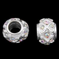 Zink Legierung Europa Perlen, Zinklegierung, Trommel, silberfarben plattiert, ohne troll & mit Strass, frei von Blei & Kadmium, 9x12mm, Bohrung:ca. 6mm, verkauft von PC