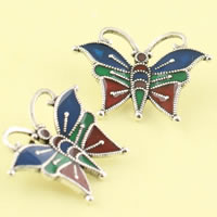 Cloisonné Anhänger, Schmetterling, handgemacht, frei von Blei & Kadmium, 28x21mm, Bohrung:ca. 2mm, verkauft von PC