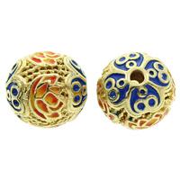Cloisonne Perlen, Cloisonné, rund, handgemacht, hohl, frei von Blei & Kadmium, 12x11mm, Bohrung:ca. 2mm, verkauft von PC