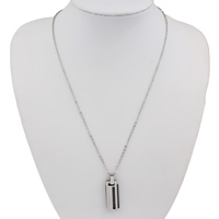 Edelstahl Schmuck Halskette, Rechteck, Wort Liebe, plattiert, Oval-Kette & mit Strass, 11x30x5mm, verkauft per ca. 18.5 ZollInch Strang