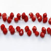 Tropfen Kristallperlen, Kristall, mit Glas-Rocailles, facettierte, Siam, 5x8mm, Bohrung:ca. 0.5mm, Länge:ca. 15 ZollInch, 10SträngeStrang/Menge, ca. 100PCs/Strang, verkauft von Menge