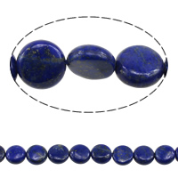 Lapislazuli Perlen, natürlicher Lapislazuli, flache Runde, 12x4-6mm, Bohrung:ca. 1.5mm, Länge:ca. 15.5 ZollInch, 2SträngeStrang/Menge, ca. 33PCs/Strang, verkauft von Menge