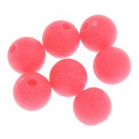 Matt Acryl Perlen, rund, verschiedene Größen vorhanden & gummierte & satiniert, Rosa, Bohrung:ca. 1mm, verkauft von Tasche