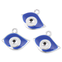 Evil Eye Anhänger, Zinklegierung, blöser Blick, silberfarben plattiert, Emaille, frei von Blei & Kadmium, 20x17x3mm, Bohrung:ca. 1mm, 10PCs/Tasche, verkauft von Tasche