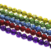 Lava Perle, rund, Elektrophorese, keine, 8mm, Bohrung:ca. 1mm, ca. 50PCs/Strang, verkauft per ca. 15 ZollInch Strang