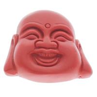 Zinnober Anhänger, Cinnabaris, Buddha, buddhistischer Schmuck, rot, 43x40x12mm, Bohrung:ca. 1mm, 10PCs/Tasche, verkauft von Tasche