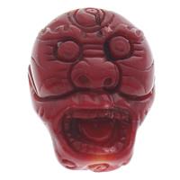 Zinnober Anhänger, Cinnabaris, MonsterUngeheuer, rot, 23x29x14mm, Bohrung:ca. 1mm, 10PCs/Tasche, verkauft von Tasche