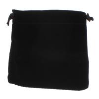 Schmuck Kordelzugbeutel, Baumwollsamt, mit Nylonschnur, Rechteck, schwarz, 10x11x1mm, verkauft von PC