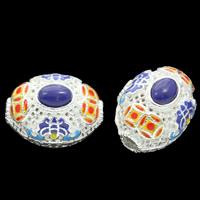 Cloisonne Perlen, Cloisonné, mit synthetischer Lapis, oval, handgemacht, hohl, frei von Blei & Kadmium, 20x16x17mm, Bohrung:ca. 3mm, verkauft von PC