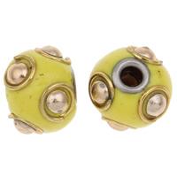 Indonesien Perlen, Zinklegierung, mit Indonesien, Trommel, plattiert, mit Strass, frei von Blei & Kadmium, 11x13mm, Bohrung:ca. 3mm, verkauft von PC