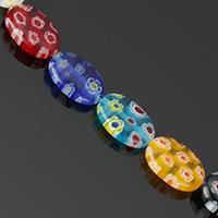 Murano Millefiori Lampwork Perle, flachoval, handgemacht, farbenfroh, 14x10x4mm, Bohrung:ca. 0.5mm, Länge:ca. 15.5 ZollInch, 10SträngeStrang/Menge, ca. 28PCs/Strang, verkauft von Menge