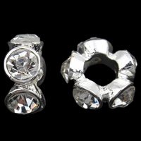 Zink Legierung Europa Perlen, Zinklegierung, silberfarben plattiert, ohne troll & mit Strass, frei von Blei & Kadmium, 5x12mm, Bohrung:ca. 5mm, verkauft von PC