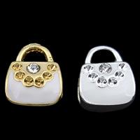 Zink Legierung Europa Perlen, Zinklegierung, Handtasche, plattiert, ohne troll & Emaille & mit Strass, keine, frei von Blei & Kadmium, 9x11x8mm, Bohrung:ca. 3x2mm, 5mm, verkauft von PC