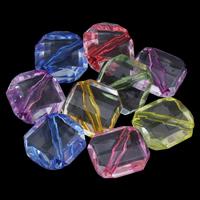 Transparente Acryl-Perlen, Acryl, Rhombus, gemischte Farben, 17x8mm, Bohrung:ca. 1mm, ca. 300PCs/Tasche, verkauft von Tasche