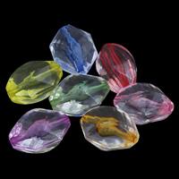 Transparente Acryl-Perlen, Acryl, Achteck, facettierte, gemischte Farben, 14x19x2mm, Bohrung:ca. 1mm, ca. 270PCs/Tasche, verkauft von Tasche