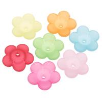 Acryl Perlkappen, Blume, satiniert & transluzent, gemischte Farben, 24x7mm, Bohrung:ca. 2mm, ca. 300PCs/Tasche, verkauft von Tasche