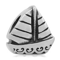 Edelstahl European Perlen, 316 L Edelstahl, Segelboot, nautische Muster & ohne troll & Schwärzen, 10x12mm, Bohrung:ca. 4mm, 10PCs/Tasche, verkauft von Tasche