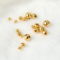 Messing Schmuckperlen, rund, goldfarben plattiert, verschiedene Größen vorhanden, frei von Nickel, Blei & Kadmium, 100PCs/Menge, verkauft von Menge