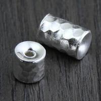 925 Sterling Silber Perlen, Zylinder, verschiedene Größen vorhanden & gehämmert, Bohrung:ca. 2mm, verkauft von Menge