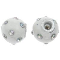 Indonesien Perlen, mit Zinklegierung, Trommel, mit Strass, weiß, 13x14mm, Bohrung:ca. 3mm, verkauft von PC