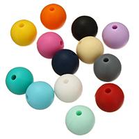 Silikon-Perlen, Silikon, rund, FDA-Zulassung, keine, frei von Nickel, Blei & Kadmium, 15mm, Bohrung:ca. 2mm, 100PCs/Tasche, verkauft von Tasche