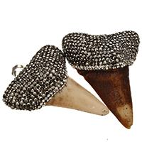 Rind-Knochen Anhänger, mit Ton & Messing, Zahn, Platinfarbe platiniert, natürliche, keine, 42x52x19mm, Bohrung:ca. 5x8mm, 5PCs/Menge, verkauft von Menge