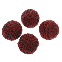 Gewebte Glasperlen, Wolle, mit Kunststoff, rund, handgemacht, rot, 25x23mm, Bohrung:ca. 3mm, 100PCs/Tasche, verkauft von Tasche