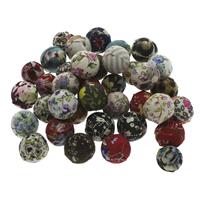 Gewebte Glasperlen, Leinen- Baumwolle, mit Kunststoff, rund, handgemacht, gemischte Farben, 14-16mm, Bohrung:ca. 2mm, 100PCs/Tasche, verkauft von Tasche