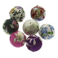 Gewebte Glasperlen, Leinen- Baumwolle, mit Holz, rund, handgemacht, gemischte Farben, 14mm, Bohrung:ca. 2mm, 100PCs/Tasche, verkauft von Tasche