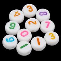Anzahl Acrylkorn, Acryl, mit einem Muster von Nummer & gemischt & Volltonfarbe, weiß, 7x4mm, Bohrung:ca. 1mm, ca. 3000PCs/Tasche, verkauft von Tasche