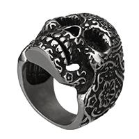 Edelstahl Herren-Fingerring, 316 Edelstahl, Schädel, verschiedene Größen vorhanden & Schwärzen, 29x9mm, 5PCs/Menge, verkauft von Menge