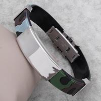 Herren-Armband & Bangle, Edelstahl, mit Silikon, 15x39x6mm, verkauft per ca. 7.5 ZollInch Strang