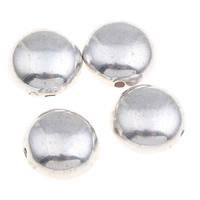 Verkupfertes Kunststoff-Perlen, Verkupferter Kunststoff, flache Runde, Platinfarbe platiniert, 11x7mm, Bohrung:ca. 1mm, 1000PCs/Tasche, verkauft von Tasche