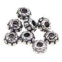 Verkupfertes Kunststoff-Perlen, Verkupferter Kunststoff, Blume, antik silberfarben plattiert, 6x4mm, Bohrung:ca. 1mm, 1000PCs/Tasche, verkauft von Tasche