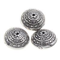 Verkupfertes Kunststoff-Perlen, Verkupferter Kunststoff, flache Runde, antik silberfarben plattiert, 12x8mm, Bohrung:ca. 1mm, 1000PCs/Tasche, verkauft von Tasche