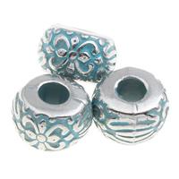 Verkupfertes Kunststoff-Perlen, Verkupferter Kunststoff, Trommel, Bläu, 10x7mm, Bohrung:ca. 3mm, 1000PCs/Tasche, verkauft von Tasche